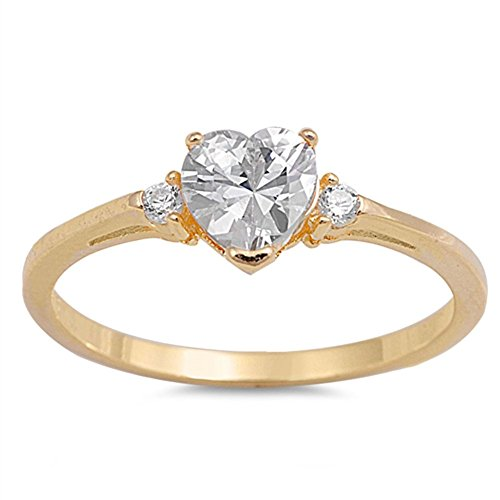 Sac Silver  Sterling Silver Gold-Tone  Heart Promise Ring, 6 ()
