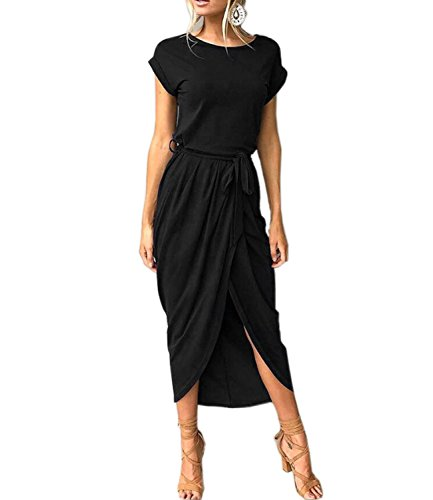 Ankle Length Dress - Mansy Womens Casual Cuffed Short Sleeves Belted Long T Shirt Warp Maxi Dress Black