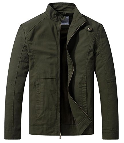WenVen Men's Spring Casual Lightweight Full Zip Military Jacket(Army Green,Medium) ()
