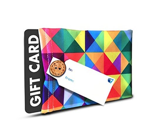 Gift Card Holder - (Set of 2) Stretchy Fabric, Reusable & Eco Friendly - Multicolored Triangles (2 Gift Card Holders with 2 FREE Gift Tags)