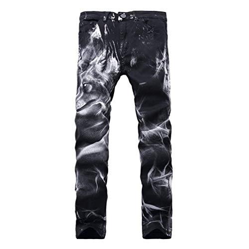 Da Dritta Fit Uomo A Ragazzi Pantaloni Con Slim Jeans Nero E Motivo Lupo Classiche Gamba Stampato Di U0Cq5WwBx
