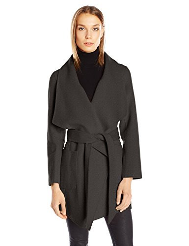 Nanette Lepore Women's Double Faced Wool Blend Wrap Coat with Patch Pockets, Black, Large