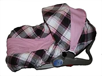 Brown Pink Plaid Infant Car Seat Cover Fits Evenflo And Graco Brand Seats