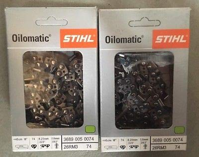 STIHL 26RM3-74 Oilomatic Rapid Micro 3 Saw Chain, 18'' 3689 005 0074 - 2 Pack by Stihl