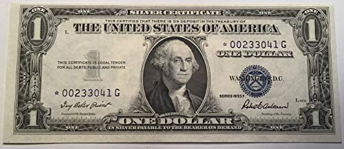 1935 F Series Star ⭐️ Blue Seal $1 One Dollar Silver Certificate US Note ()