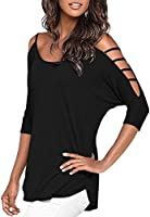 Mooncolour Womens 3/4 Sleeve Hollow Out Casual Loose Solid Blouse Tops,US Medium,Black