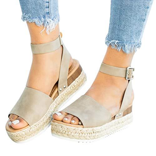 Womens Espadrille Flatform Sandals Wedges Heel Criss Cross Ankle Strap Open Toe Shoes