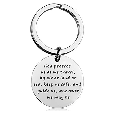 BEKECH Traveler's Prayer Travel Protection Key Ring Travel Gifts God Protect Us As We Travel by Air Land Sea Keep Us Safe Travels Keychain Religious Gift (Silver) ()