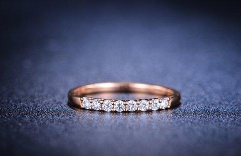 Gowe Nouvelle arrivée Naturel 0,2CT Diamant Mariage Bague femme avec or rose 18K (Au750)