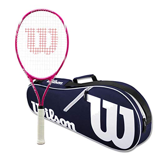 Wilson Triumph Pre-Strung Pink/White Tennis Racquet (4 1/4″ Grip) Set or Kit Bundled with a Navy/White Advantage 2-Pack Tennis Racket Bag and a Can of Tennis Balls