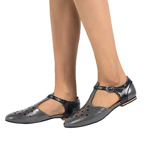 (FarJing Womens Sandals Summer Pointed Retro Buckle Roman Hollow Out Sandals Shoes(US:8.5,Gray)