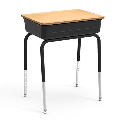 Virco Student Lift Lid Desk with Char Black Metal Bookbox, Fusion Maple Laminated Top, Black Frame, 2 Pack (751MBBM-BLK01-BRN38-BLK01) ()