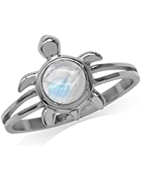 Natural Moonstone 925 Sterling Silver Turtle Solitaire Ring