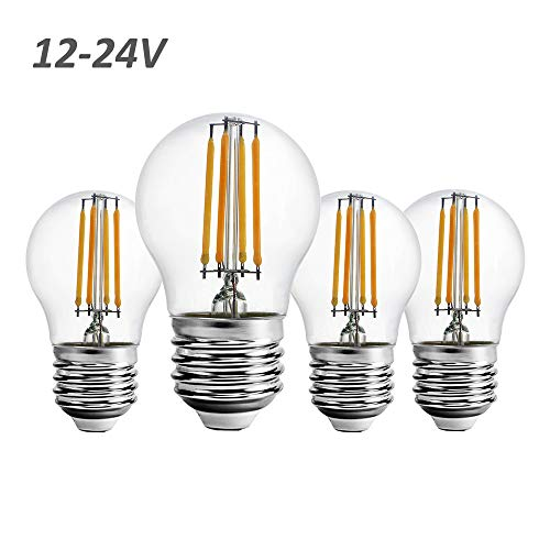12 Volt 24 Volt 12V-24V Low Voltage G15 LED Light Bulb RV Camper Marine 2W 250lm Edison Incandescent Bulb 25W Off Grid Solar Battery System Lighting Standard E26 Base Warmwhite 2700K (Pack of 4)
