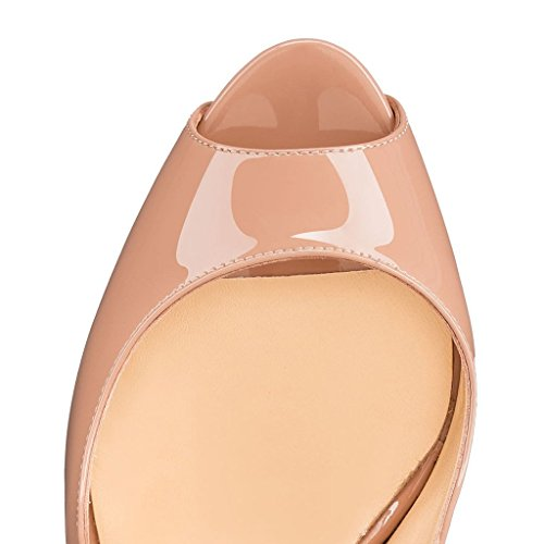 Calaier Womens Cawinner Peep-toe 16cm Stiletto Slip-on Pumps Scarpe Beige C