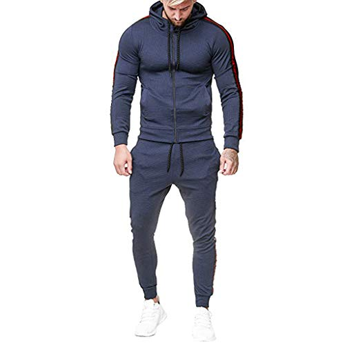 OVERDOES Men Casual Tracksuit Long Sleeve Full-Zip Running Jogging Sports Jacket and Pants Navy