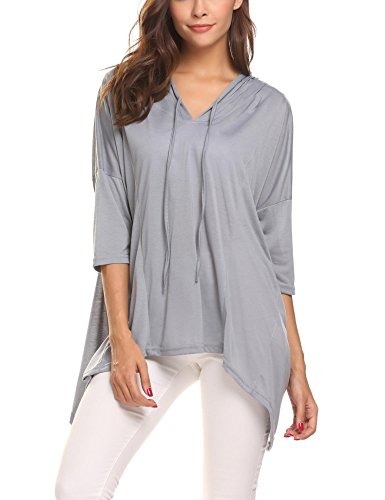 Dolman Sleeve Hooded Top - ELESOL Women's V Neck Fashion Oversized Fit Dolman Sleeve Casual Loose Hooded Top T-Shirt,Grey,M