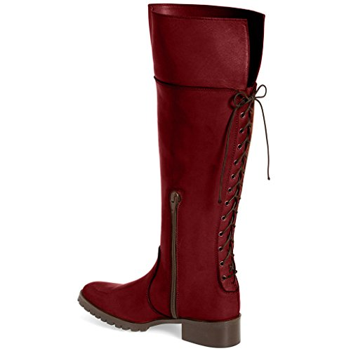 Comfrotable Women FSJ Shoes Low Size high Boots Heel Side Lace 4 US Red Up with Knee Zippers for 2 15 pqOdrq