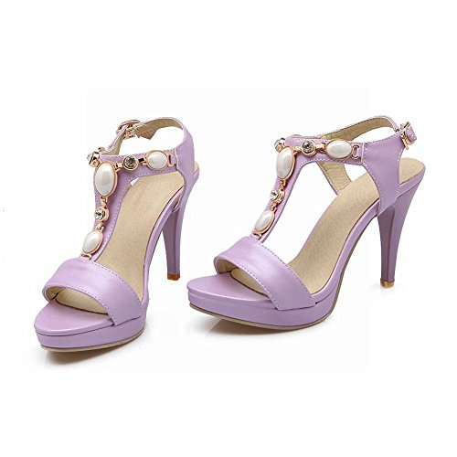 Carolbar Womens Candy Colors Buckle Open Toe T-Strap Rhinestones Chains High Stiletto Heel Dress Sandals Purple G53HssLJf1