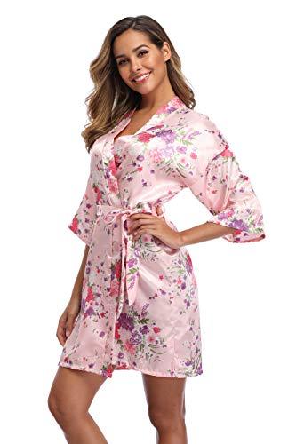 - iFigure Women Floral Kimono Robe Satin Bridal Dressing Gown Bride Bridesmaid Robes Sleepwear, Baby Pink, S