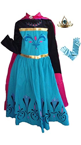 (Inspired Elsa Coronation Dress, Tiara and Gloves Set (5-6)