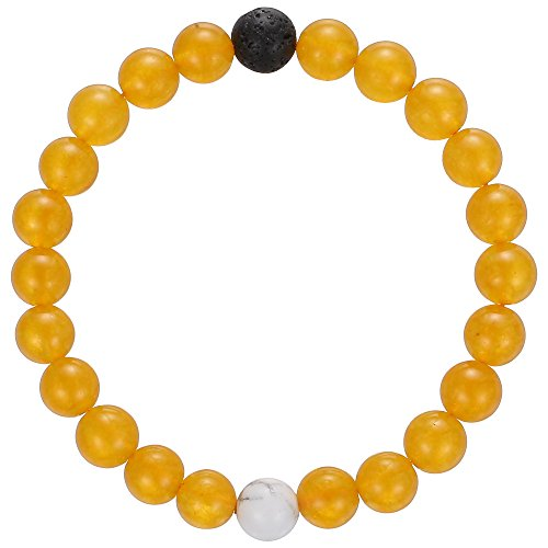 Gemstone Yellow Bracelet (Gemstone Beaded Bracelet, BRCbeads Yellow Dyed Jade Balance with Lava Stone & Howlite Turquoise Birthstone Handmade Healing Power Crystal Elastic Stretch 8mm with Gift Box Unisex)
