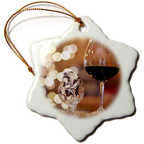 3dRose Stamp City - Still Life - Photograph of a Glass of red Wine and Some Tasty Toffee in a Glass. - 3 inch Snowflake Porcelain Ornament (ORN_302461_1)