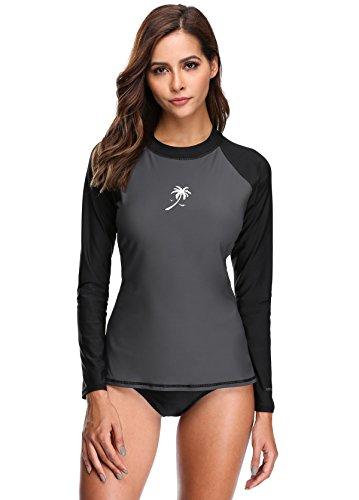 ATTRACO Women Surfing Swimsuits SPF 50 Shirt Uv Protective Swim Tops Rashguard S