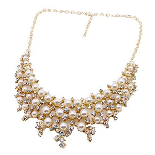 Drive Diamond Mother Of Pearl - Fashion Women Big Pendant Chain Choker Pearl Statement Bib Necklace Jewelry