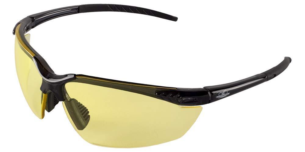 Crystal Black Frame Black TPR Nose Piece /& Temple 1 Pair Yellow Lens Bullhead Safety Eyewear BH1134 Marlin