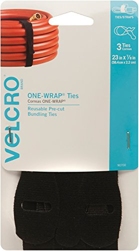 VELCRO Brand ONE-WRAP Ties | Reusable Pre-cut and Self Gripping | For Bundling Hoses, Wood, Heavy Duty Extension Cords | 3 Ct 23