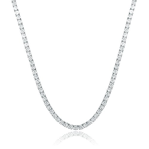 Plated Swarovski Rhinestone - GEMSME 18K White Gold Plated 4.00mm Round Cubic Zirconia Classic Tennis Necklace 18 Inch