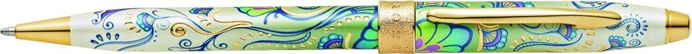 Stylo bille rechargeable avec motifs floraux Attributs plaqu/és or 23 Cts /Écrin et recharge pour stylo bille noir incluse CROSS Botanica Lys vert