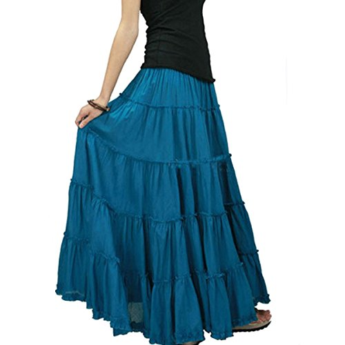 Cotton Circle Skirt (CoutureBridal Womens Elastic Tiered Boho Long Circle Broomstick Peasant Skirt Dance Blue One Size)