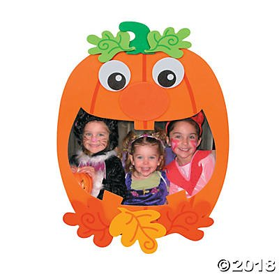 Fun Express 12 - Halloween Pumpkin Picture Frame Magnets Craft Kits