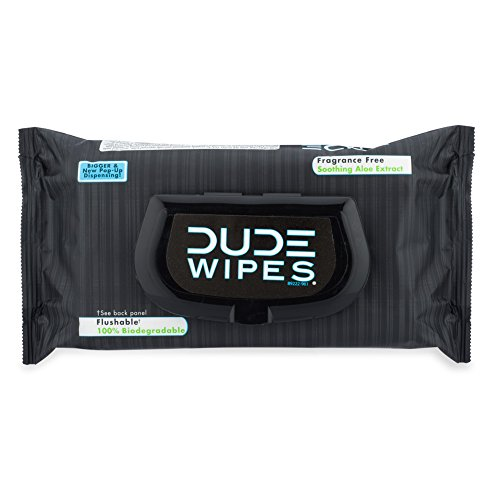 DUDE Wipes Flushable Wipes, Unscented with Vitamin-E & Aloe, 100% Biodegradable, Dispenser Pack (48ct)