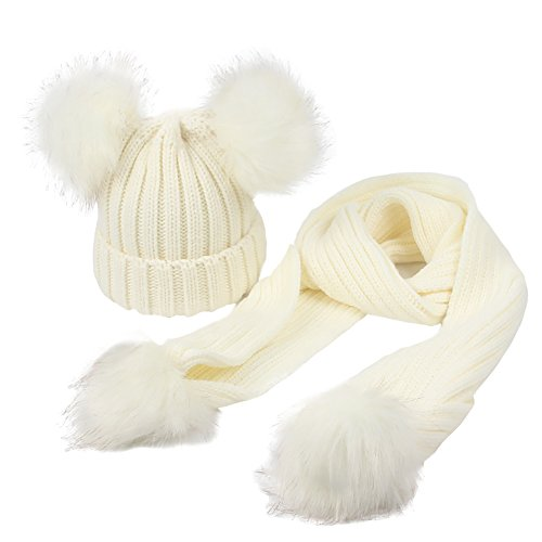 GESDY Baby Knitted Hat & Scarf Set Warm Detachable Double Faux Fur Pom Crochet Skull Cap Beanie Hats,White,48-53cm