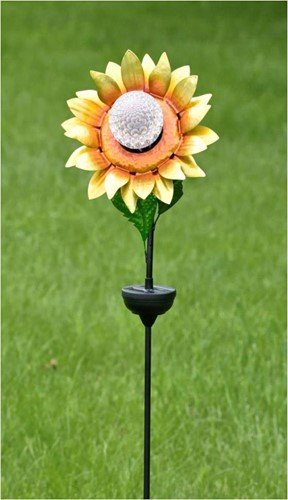 Zaer Ltd. Solar Flower Garden Stake with Rotating and Color Changing LED Light-Up Orb (Yellow)