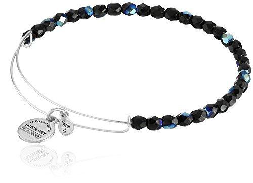 Alex and Ani Women's Midnight Rock Candy Beaded Bangle Rafaelian Silver-Tone Bangle Bracelet One Size, 2.75''