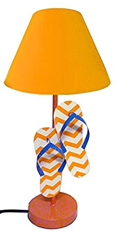 Tropical Fantasy Chevron Flip Flop Lamps Beach Sandal Lighting (Orange) (Lamps For Bedrooms Beach)