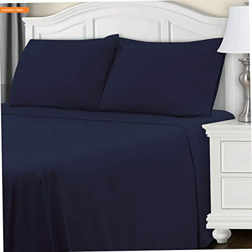 - Mikash New Soft 100% Brushed Cotton Flannel Bedding Sheet Set, Twin, Navy Blue | Style 84600800