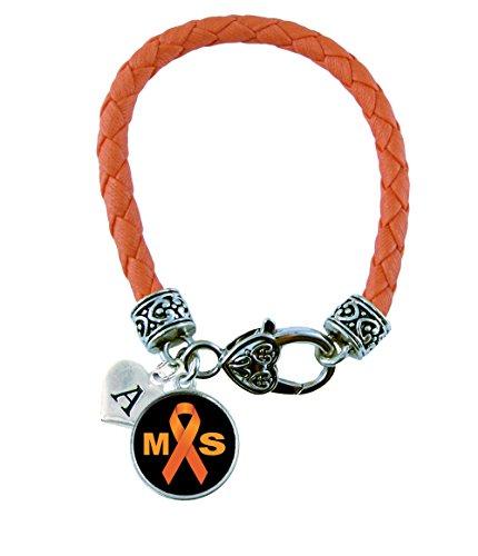 Custom Multiple Sclerosis MS Awareness Ribbon Orange Leather Bracelet Gift Jewelry Family Choose (Orange Leather Bracelet)