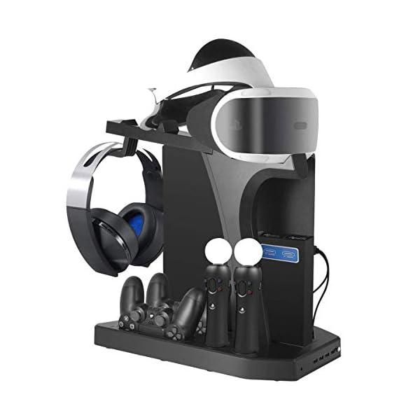KJH PSVR Multifunction Vertical Stand For PS4,Slim,Pro,PSVR,PSVR2 - Charge, Cool, Showcase, Cooler, Headset Storage… 1