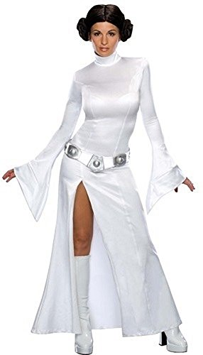 Ladies Sexy Princess Leia Star Wars Plus Wig Licensed Book Day Fancy Dress Costume Outfit UK 6-18 (UK 20-22) ()