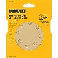 5-Pk DEWALT 5-Inch 220 Grit Hook Random Orbit Sandpaper Deals