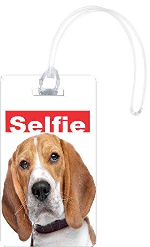 Rikki Knight Selfie Beagle Dog Design Flexi Luggage Tags, White Beagle Luggage Tag