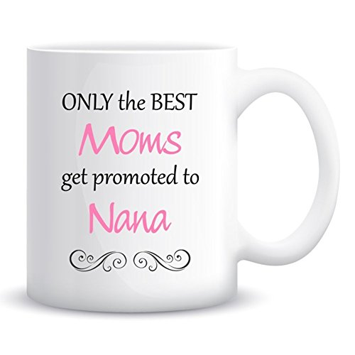 ZaH Mug Gift Coffee Mugs for Mum Dad Grandma Grandpa, Ceramic Mugs Tea Cup for Mother's Day Father's Day Christmas Birthday, Mug 12 OZ Pink, ONLY the BEST Moms get promoted to Nana