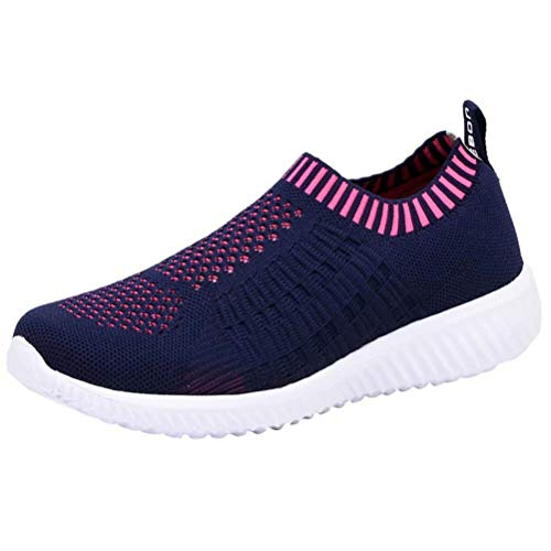 LANCROP Women's Comfortable Walking Shoes - Lightweight Mesh Slip On Athletic Sneakers 7.5 M US Navy