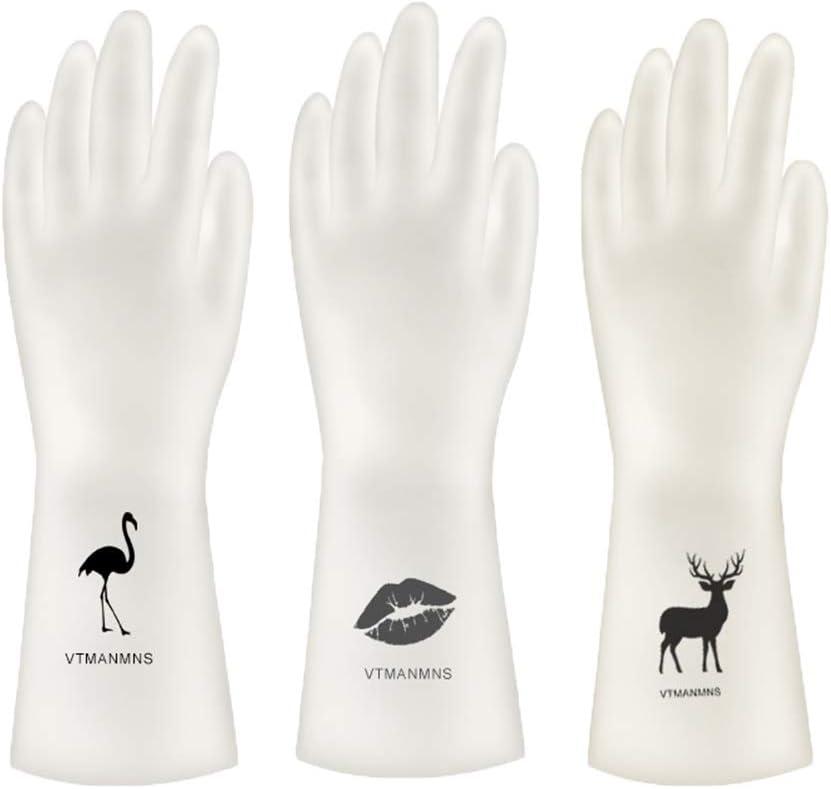 Walk Diary PVC Household Cleaning Gloves, 3 Pairs Reusable Dishwashing Gloves, Waterproof, Non-Slip, Food Grade Vinyl Gloves (PVC White Small 3 Pack Set)
