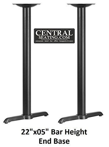 Bar Height Restaurant Table Base Black Color 2 Prong Style, Indoor End Table Base KIT for Bar Table Tops, T Base, 22''Wide Bottom, 41''H Bar Height x 3'' Column. Perfect Table Base for Bar Use by CentralSeating